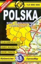 Polska mapa samochodowo administracyjna 1:2 000 000