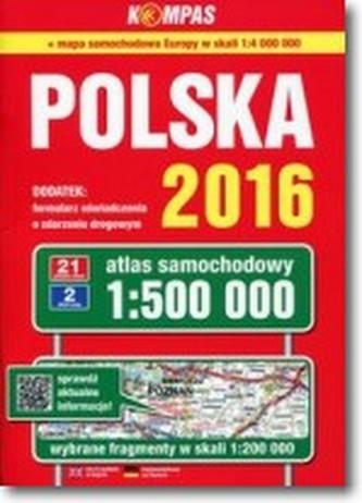 Atlas samochodowy Polski kompas 1:500 000/2017