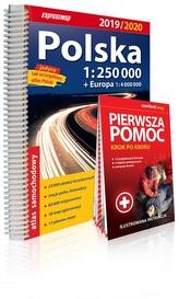 Polska. Atlas samochodowy + Pierwsza pomoc, 1: 250 000